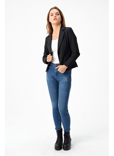 Jument Cepli Düğmeli Uzun Kol Mono Blazer Ceket-Siyah Siyah